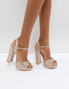 Read more about Office hunk rose gold sparkle platform sandals - rose gold