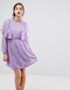 Read more about Asos metallic spot ruffle smock mini dress - lilac