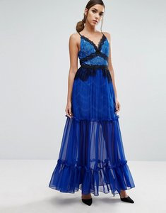 Read more about Three floor tiered maxi dress with lace detail - blue