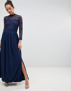 Read more about Club l high neck crochet lace maxi dress with long sleeves - navy