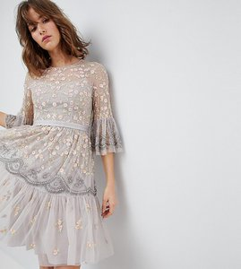 Read more about Needle thread allover embroidered and embellished midi dress with fluted sleeves - dove