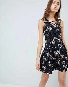 Read more about Qed london floral skater dress with lace up detail - navy