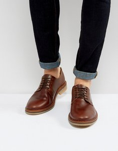 Read more about Asos derby shoes in brown leather with natural sole - brown