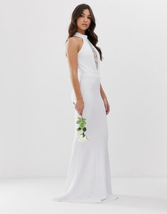 Read more about City goddess bridal halterneck fishtail maxi dress with lace detail