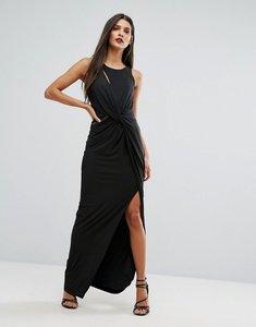 Read more about Forever unique wrap thigh high split maxi dress - black