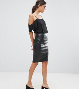Read more about Vero moda tall leather look midi skirt - black