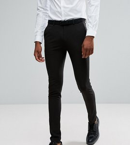 Read more about Asos tall super skinny tuxedo suit trousers in black - black