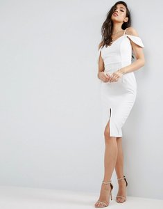 Read more about Asos textured off the shoulder keyhole midi dress - ivory
