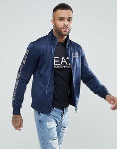 Read more about Ea7 zip through tricot logo sleeve sweat in navy - 1554 navy