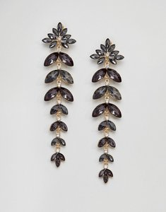 Read more about Johnny loves rosie statement leaf drop earrings - grey