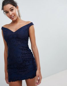 Read more about Love triangle bardot sweetheart mini lace dress - navy
