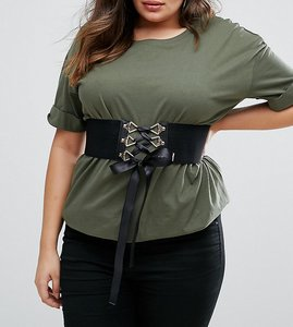 Read more about Asos curve wide elastic corset waist belt - black