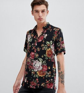 Read more about Asos design tall regular fit floral tapestry style shirt in black - black