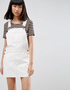 Read more about Asos denim dungaree dress in off white with tobacco stitch - white