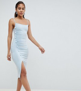Read more about Asos design tall button through slinky midi dress - pale blue