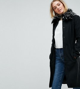Read more about Brave soul tall davina coat with faux fur collar - black