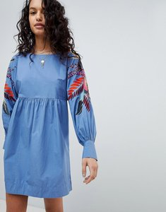 Read more about Free people mini obsessions floral mutton sleeve dress - blue combo