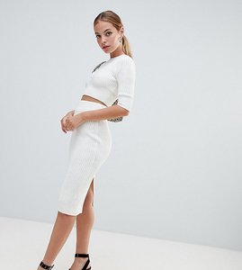 Read more about Fashion union petite knitted pencil skirt in rib co-ord - cream