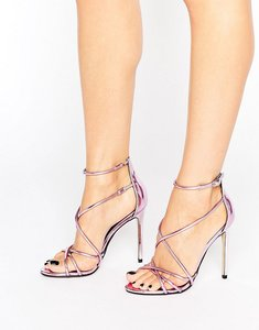 Read more about Office spindle pink mirror strappy heeled sandals - pink mirror pu
