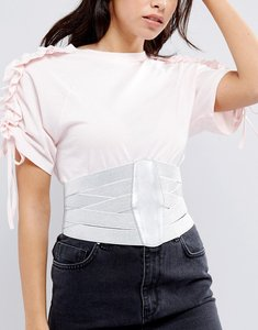 Read more about Asos metallic multi elastic strap wide corset belt - silver