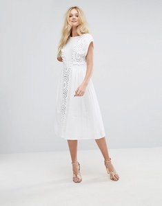 Read more about Asos lace insert midi dress with pom pom trim - white