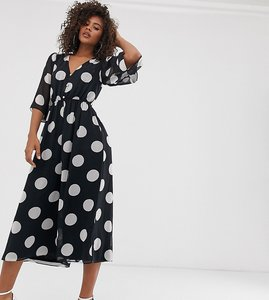 Read more about Asos design tall button front waisted open back jumpsuit in spot print