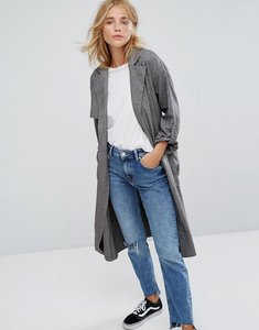 Read more about Bershka check lightweight trench coat - multi
