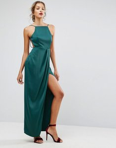 Read more about Asos drape front delicate back satin maxi dress - forest green