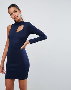 Read more about Asos one shoulder long sleeve cut out front mini dress - navy