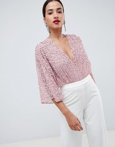 52cad3bf09 Read more about Asos design body in sequin embellishment with plunge wrap  and kimono sleeve -