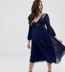 Read more about Little mistress maternity floral embroidered midi skater dress in navy