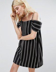 Read more about Greylin riya stripe cold shoulder dress - black