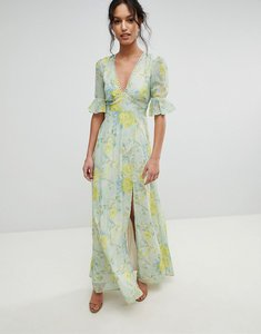 Read more about Hope ivy floral printed maxi dress with thigh split - multi