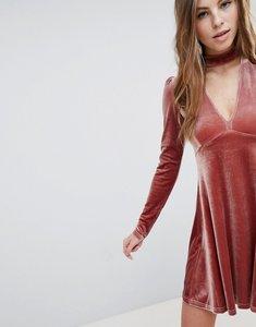 Read more about Oh my love long sleeve velvet skater dress - dusky pink