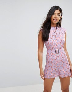 Read more about Asos playsuit with high neck and belt in retro floral print - purple floral