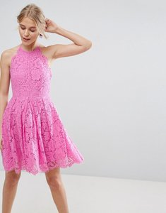 Read more about Asos lace pinny scallop edge prom mini dress - bubblegum pink