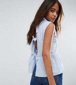 Read more about Glamorous tall pinstripe peplum hem shirt with boy back detail - blue