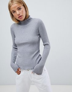 Read more about Qed london frill edge high neck ribbed jumper - grey