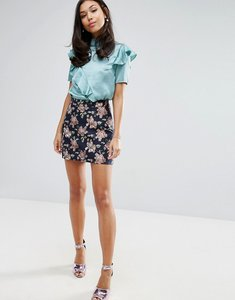 Read more about Fashion union mini skirt in jacquard - jacquard floral