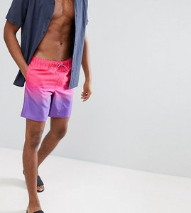 Read more about Asos tall swim shorts in purple pink ombre in mid length - purple