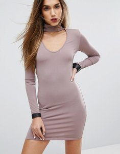Read more about Motel bodycon dress with choker detail - lilac