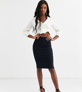 Read more about Asos design tall high waisted pencil skirt - navy