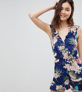 Read more about Parisian tall floral print sleeveless wrap playsuit with frill detail - blue