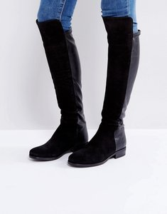 Read more about Dune trish suede flat over knee boots - black suede