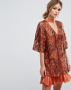 Read more about Three floor embroidered shift dress with kimono sleeve - rust