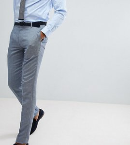 Read more about Asos design tall wedding skinny suit trousers in airforce blue micro texture - blue