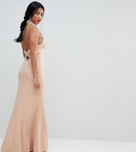 Read more about Jarlo petite high neck ruched open back maxi dress - nude