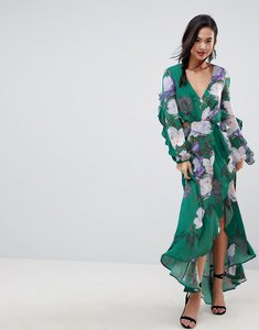 Read more about Asos floral print ruffle maxi dress - multi