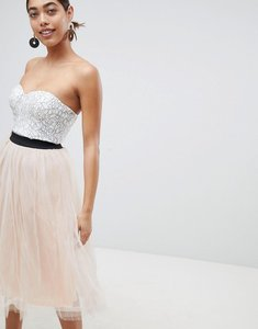 Read more about Rare london lace prom midi dress with tulle skirt - cream nude pink