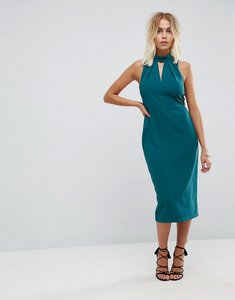 Read more about Closet london high neck pencil dress with keyhole detail - teal